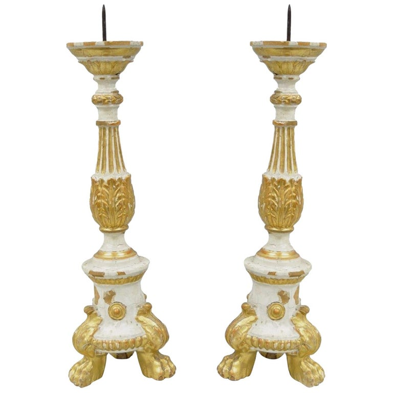 Pair of Antique Italian Neoclassical Carved Gilt Wood Gold Candlestick Prickets
