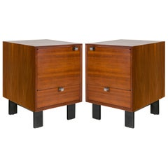 George Nelson Walnut Nightstands for Herman Miller, USA, 1950s