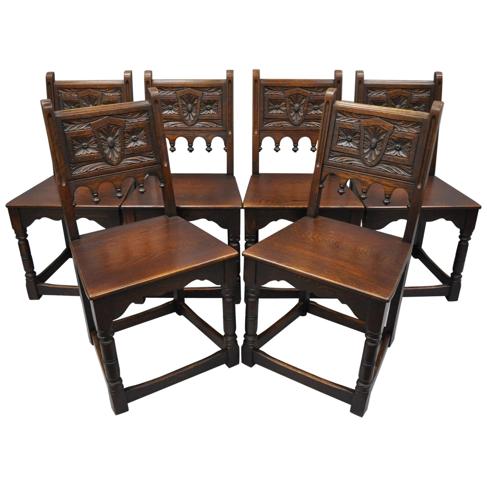 Set Of Six Oak Wood Gothic Jacobean Renaissance Revival Dining Side Chairs