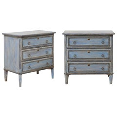 Pair of Swedish Midcentury Painted Wood Three-Drawer Chests in Soft Blue Finish
