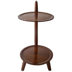 Scandinavian Functionalist Two-Tier Walnut and Beech Tea/Side Table
