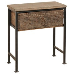 18th Century Spanish Carved Wood Single Drawer Side Table on Custom Iron Base