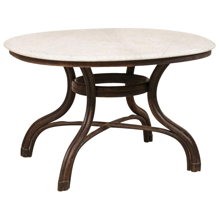 French Oval-Shaped Marble-Top Table with Wood Base, circa 1920s-1940s