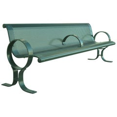 "Dumor 59 Series Steel Green Park Outdoor Bench Perforated Seat 101"" 8 Feet (a)"