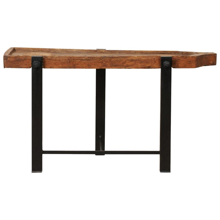 19th Century Spanish Wood Trough Top Side Table with Custom Iron Base