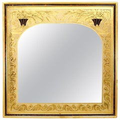 Italian Neoclassic Style Ivory and Gold Églomisé Wall Mirror