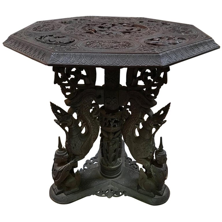 Indo-Chinese 19th Century Carved Table For Sale