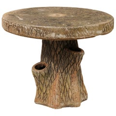 French Faux Bois Tree Stump Outdoor Garden, Porch or Patio Side Table
