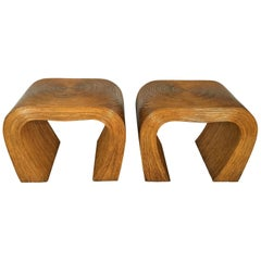 Pencil Reed Bamboo End Tables or Night Stands, Gabriella Crespie Style