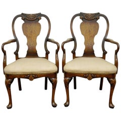 Pair of Vintage Shell Carved Burl Wood Walnut George II Style Dining Armchairs