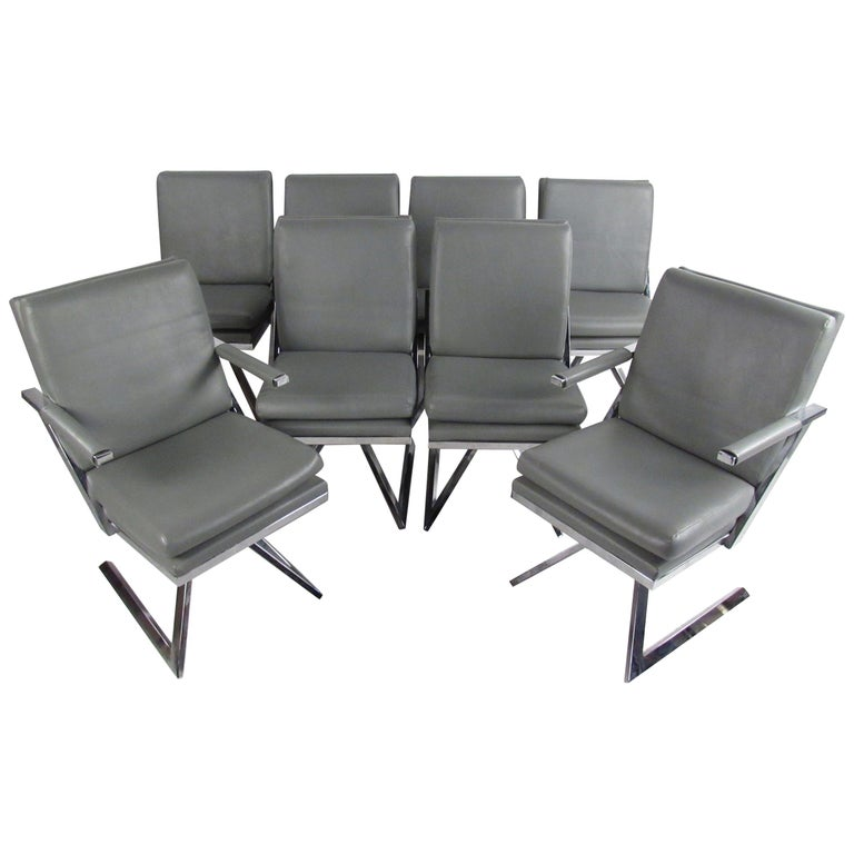 Set of Eight Modern Swivel Dining Chairs
