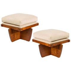 George Nakashima Walnut Greenrock Ottomans/Stools, USA 1980