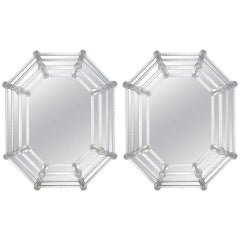 Pair of Octagonal Venetian Glass Mirrors