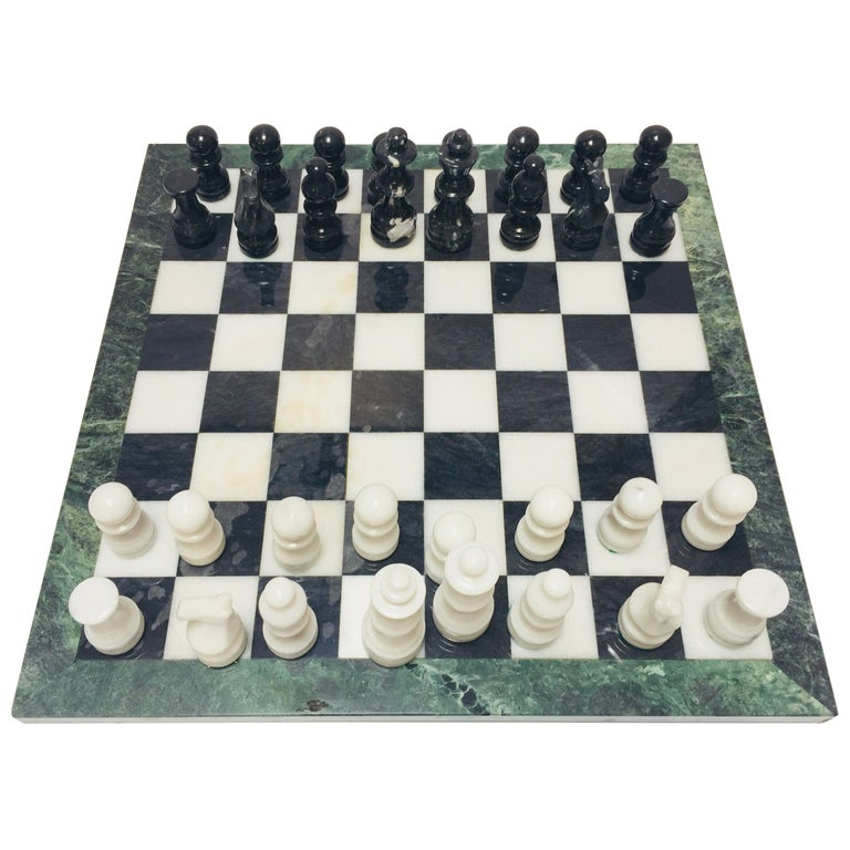 Marble Chess Board with Hand-Carved Black and White Onyx Chess Pieces