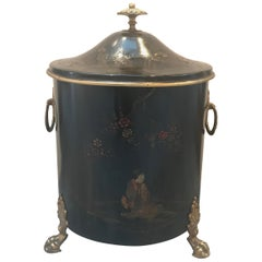 19th Century English Chinoiserie Tole Fireplace Tinder Box