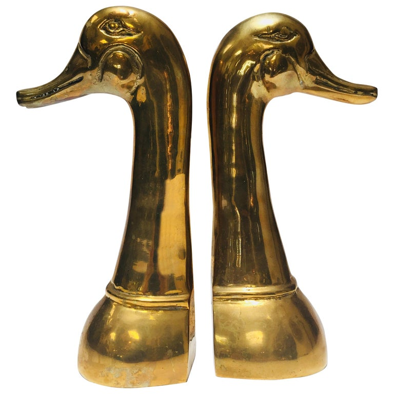 Vintage Pair of Polished Cast Brass Duck Bookends, circa 1950