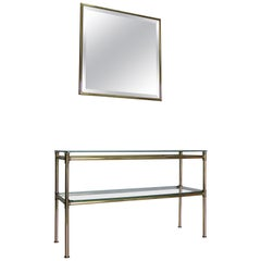 Italian Brass Console with Matching Mirror, 1970s