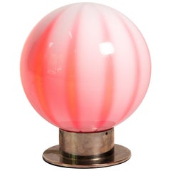 Murano Glass Globe Shaped Table Lamp Made In Italy