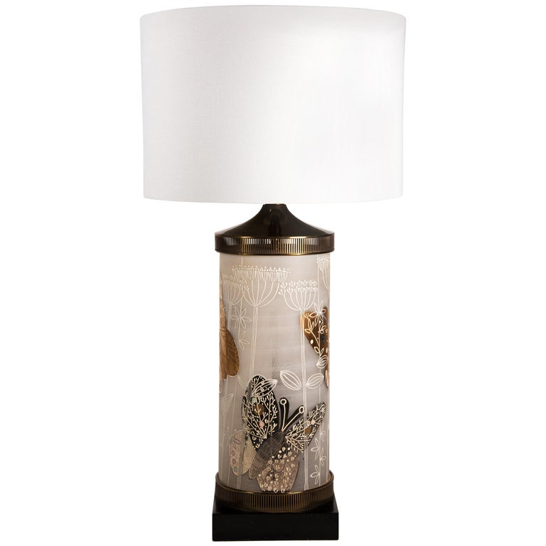 Large Mid-Century Table Lamp Satin Glass with Hand-Painted Butterflies For Sale