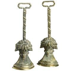 19th Century Pair of Brass Doorstops