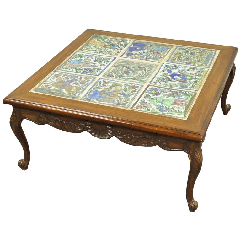 Square Vintage French Country Louis XV Carved Walnut Tile Top Coffee Table