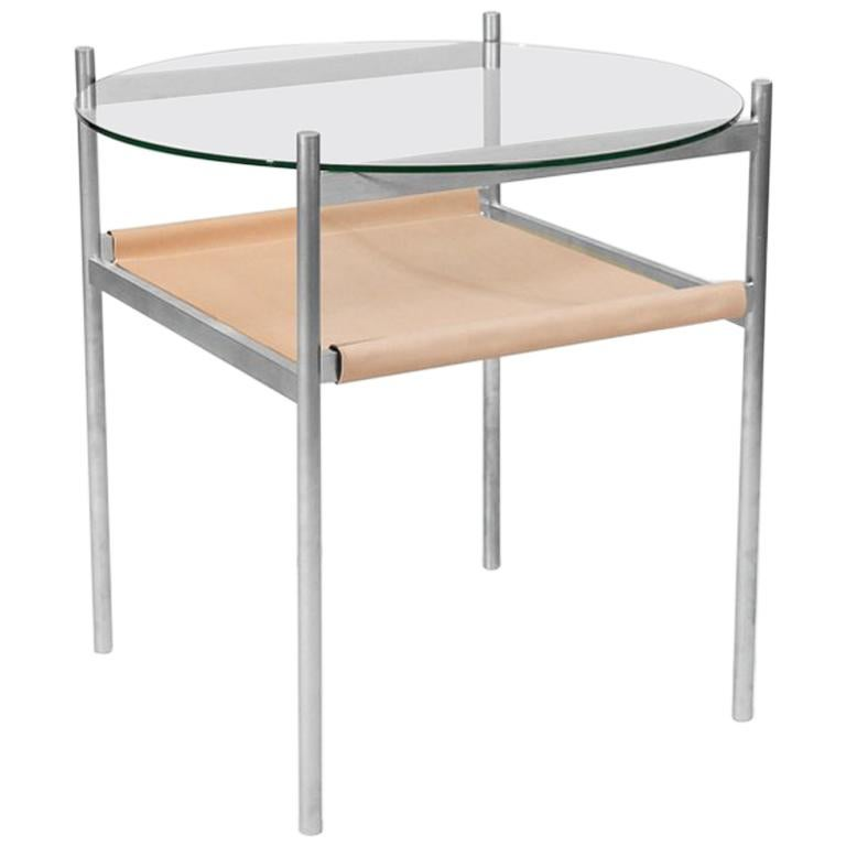 Duotone Circular Side Table, Aluminum Frame/Clear Glass/Natural Leather