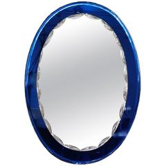 Mid-Century Oval Mirror in the Style of Fontana Arte