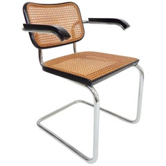 1970s Black Marcel Breuer Knoll Cesca Cane Chairs