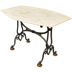 French Marble-Top Garden Table