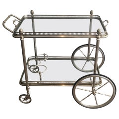 Neoclassical Style Silvered Brass Bar Cart