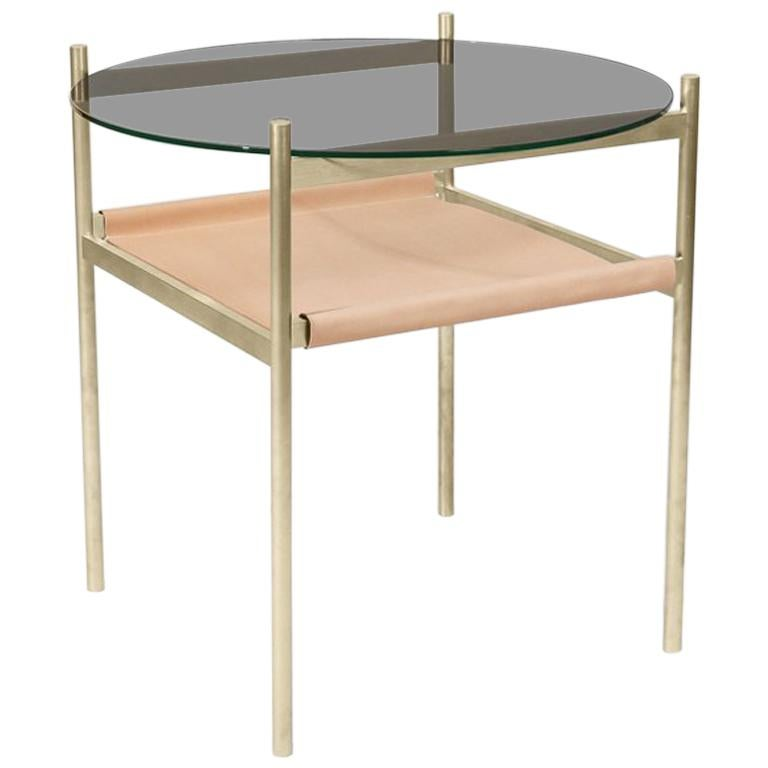Duotone Circular Side Table, Brass Frame, Smoked Glass, Natural Leather For Sale