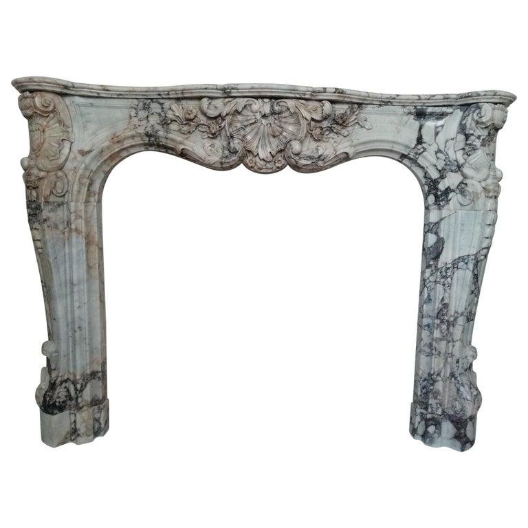 Important Regence Style Callacata Gold Marble Fireplace Mantel, 19th Century For Sale