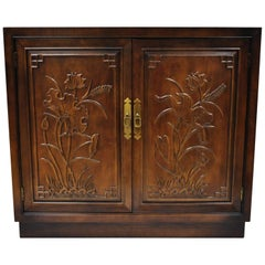 Henredon Folio 16 Asian Chinoiserie Floral Carved Oriental Server Cabinet, USA