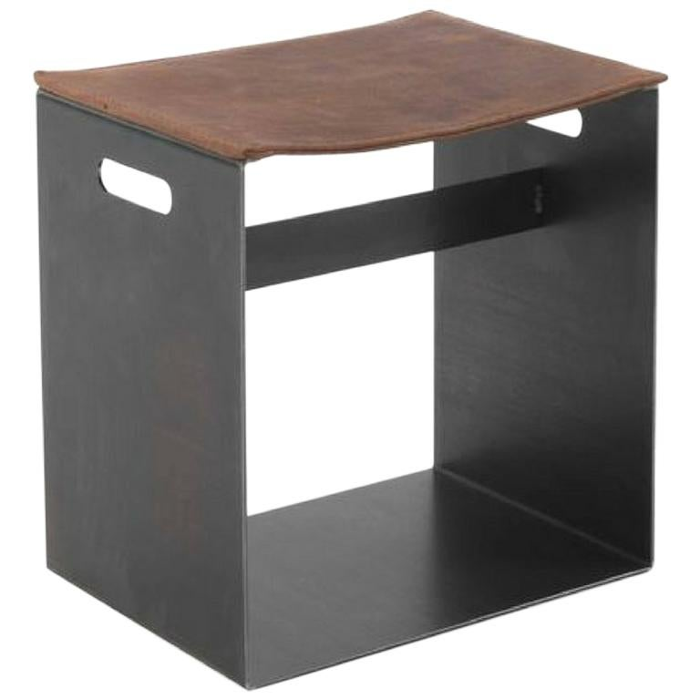 Barney Iron Small Stool with Leather Seat