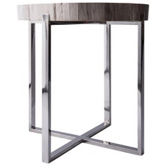 Palecek Petrified Wood and Chrome Side Table
