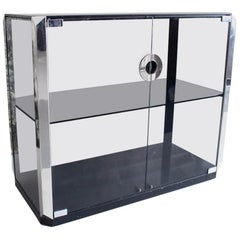 Willy Rizzo 1970s Two-Door Glass Cabinet in Smoked Glass and Chrome