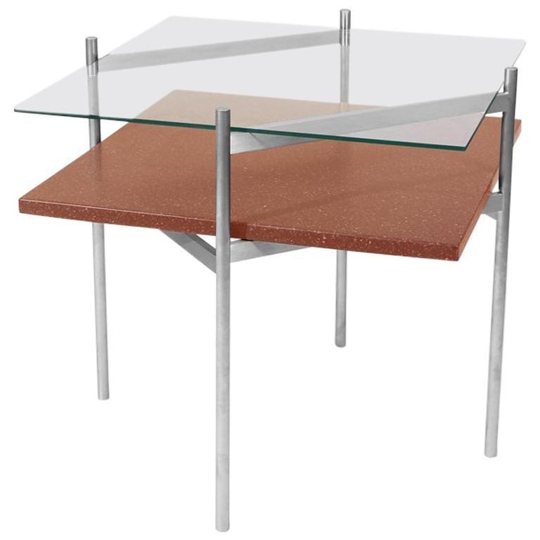 Duotone Diamond Side Table, Brass Frame / Clear Glass / Rust Mosaic ...