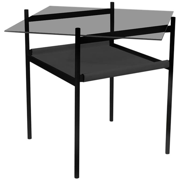 Duotone Diamond Side Table, Black Frame/Smoked Glass/Black Leather For Sale