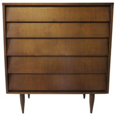 Knoll Styled Tall Walnut Dresser or Chest