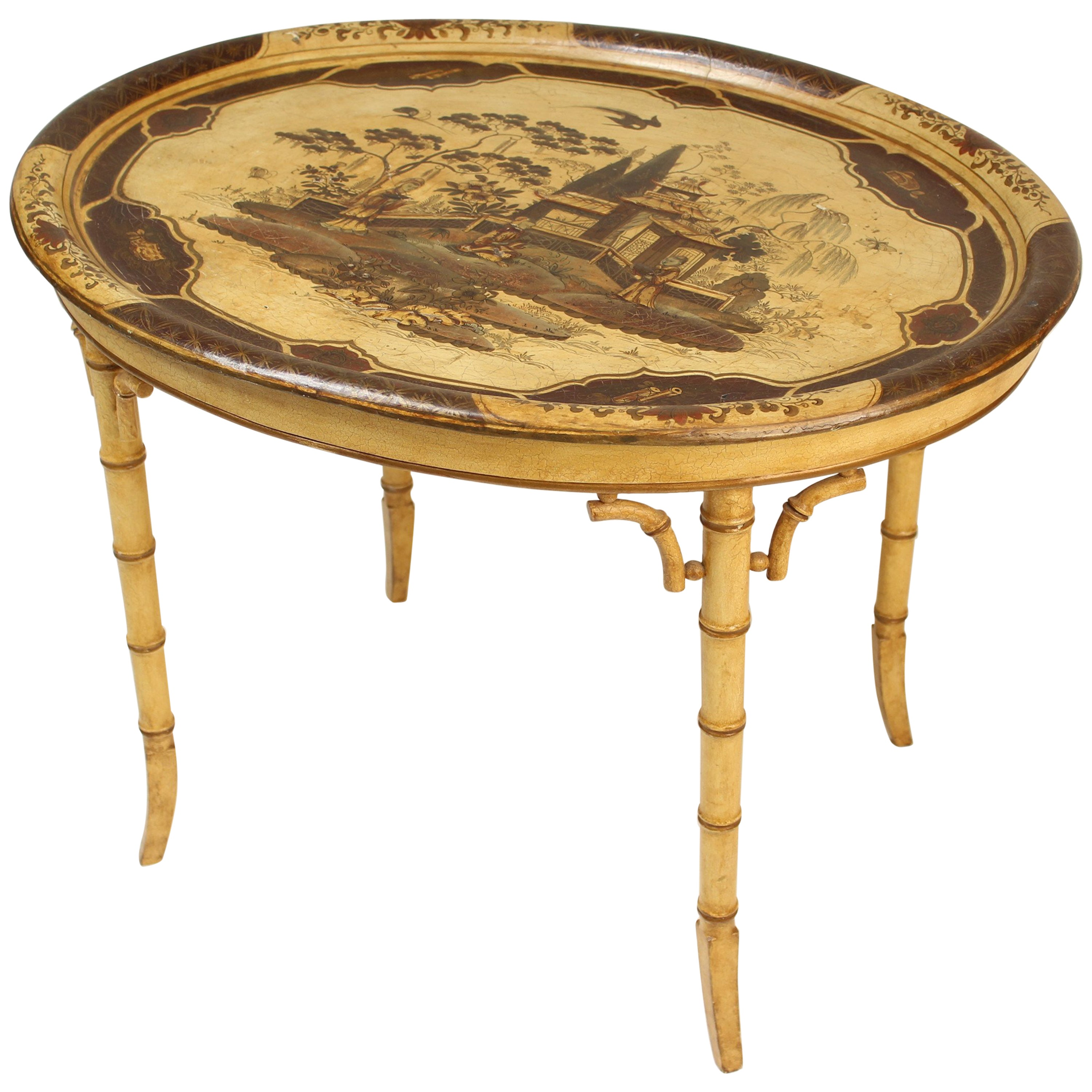 English Regency Style Chinoiserie Decorated Paper Mache Tray Table