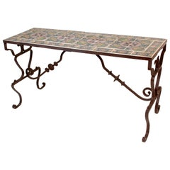 Wrought Iron Table with Spanish Tile-Top