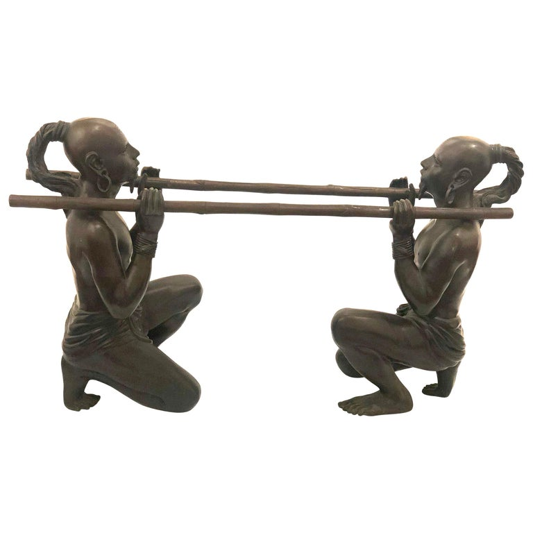 Striking Pair of Bronze Sculptures Bases For Sale