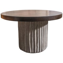 Custom Cement Drum Dining Table with Dark Oak Top
