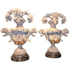Pair of Carved Floral and Foliate Architectural Fragments on Faux Marble Bases