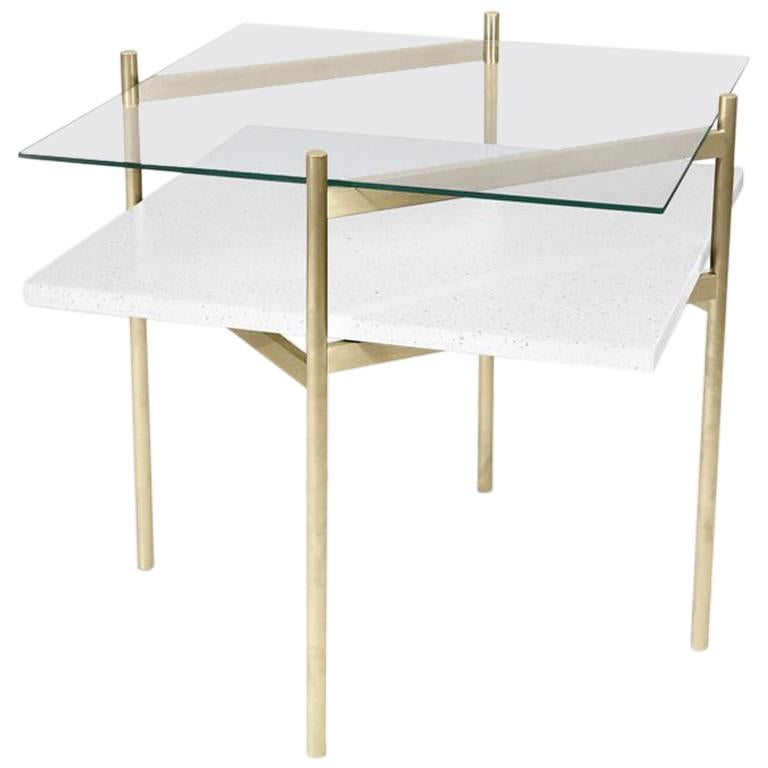 Duotone Diamond Side Table, Brass Frame / Clear Glass / White Mosaic For Sale