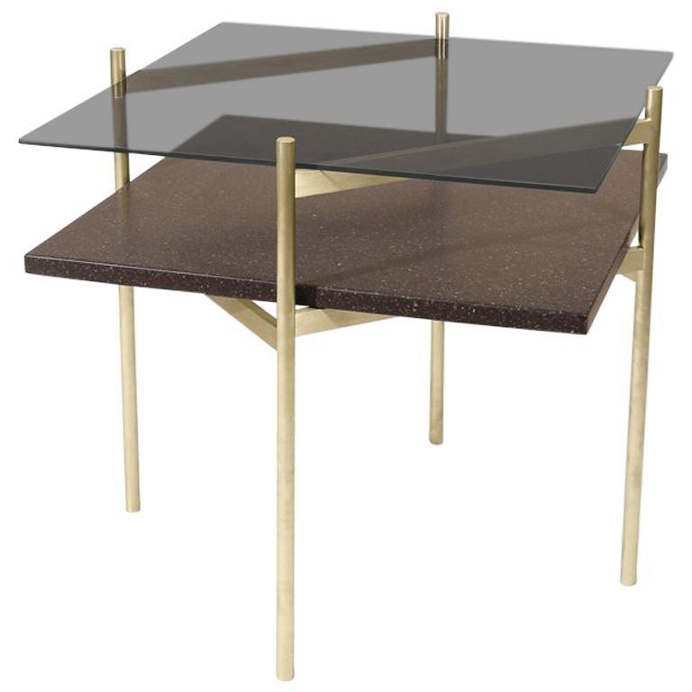 Duotone Diamond Side Table, Brass Frame / Smoked Glass / Black Mosaic