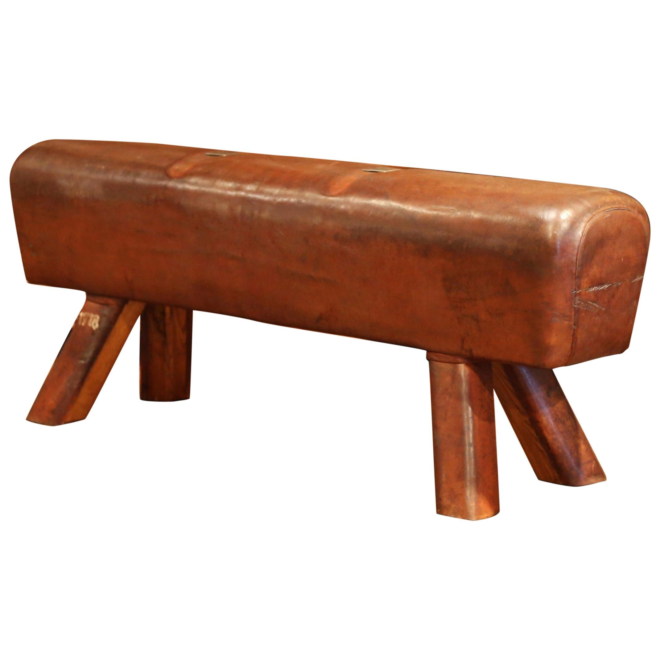 Large Early 20th Century Czech Pommel Horse Bench With Patinated Brown  Leather