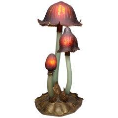 """Whimsical Art-Nouveau Style Mushroom Glass Lamp after Émile Gallé """"Les Coprins"""""""