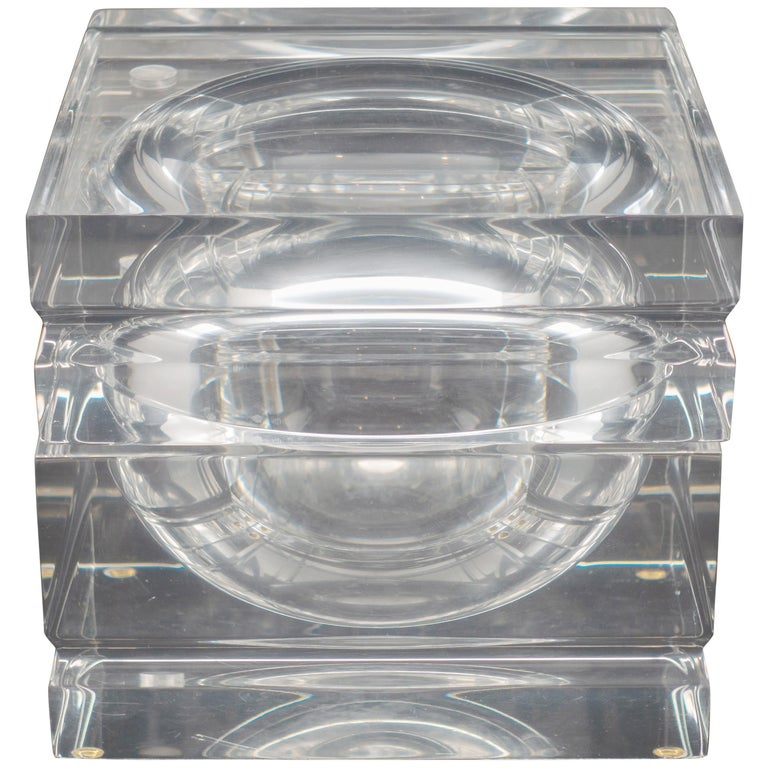 Midcentury Square Lucite Ice Bucket with Swivel Top