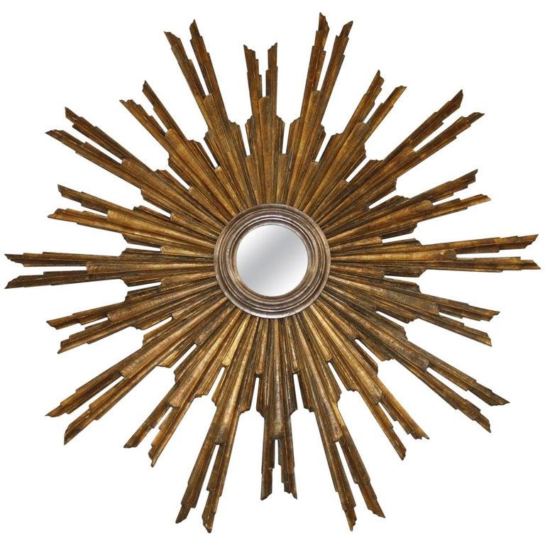 Monumental French Gilt Sunburst or Starburst Mirror